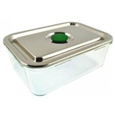 It's back!  Our elegant large rectangular glass container with a stainless steel lid and silicone sealing system for an airtight watertight seal.