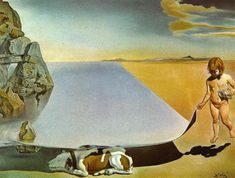 Salvador Dali: Dali at the Age of Six, When He Thought He Was a   Girl Lifting with Extreme Precaution the Skin of the Sea   to Oberserve a Dog Sleeping in the Shade of the Water  1950