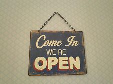 Open Closed tin sign Vintage chic Shabby home plaque shop display decoration