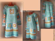 Купить Платье Арлекин 2 - мятный, платье, Бабушкин квадрат, платье крючком, платье вязаное