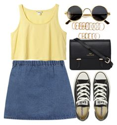 """""""HKMS"""" by krizan ❤ liked on Polyvore featuring moda, Monki, Forever 21, Converse i Sloane"""
