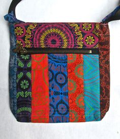 shweshwe sling bag with Africa pendant Zip front pocket and zipped top closure. Fully lined. Nappy Bags, Diaper Bag, Waffle Cookies, Fabric Wallet, Sling Bags, Backpack Pattern, Pattern Sewing, Print Ideas, Printed Tote Bags