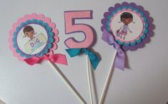 Doc McStuffins Birthday Party Centerpiece or cake topper Picks or sticks Set of 3 on Etsy, $12.00