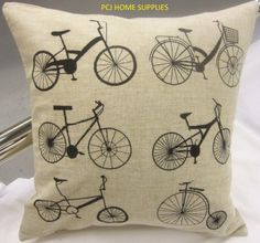 EMBROIDERED BICYCLE BIKE PENNY FARTHING LINEN PILLOW CASE SHAM