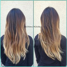 Dark brown with creamy blonde balayage highlights ombre