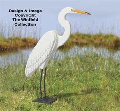 3D Life-Size Egret Wood Pattern