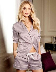 "British model Rosie Huntington-Whiteley debuts another ""Rosie For Autograph"" lingerie line for British retailer Marks & Spencer. Pijama Satin, Satin Pyjama Set, Satin Pajamas, Pyjamas, Pajama Set, Rosie Huntington Whiteley, Sleepwear Women, Pajamas Women, Victoria Secret Pajamas"