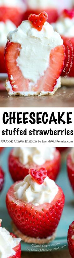 Cheesecake Stuffed Strawberries are an easy no bake dessert recipe! Fresh juicy berries are filled with an easy no bake cheesecake!