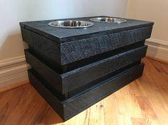 Reclaimed Crate Dog Bowl Feeding Station Elevated Dog Bowl Stand  Rustic  Crate Dog Bowl Stand  L X W X Tall. Ebony Finish By Kustomwood On Etsy