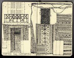 Ian Sidaway - Fine Line sketchbook drawing of Moroccan rugs in Chefchaouen