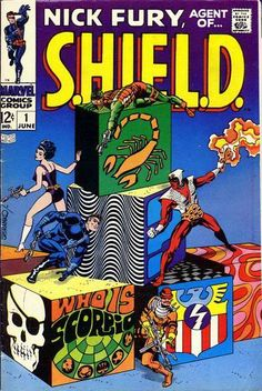 This comic book, Nick Fury Agent of S.H.I.E.L.D. #1 drawn by Jim Steranko, an incredibly talented, graphically unique Marvel artist who exploded in the late '60s and early '70s, was a milestone in comic books, and foreshadowed the graphic novels to come. I used to collect comics, and this is the only one from that era that I still own, in excellent shape and wrapped in a plastic bag. Check out the other two Steranko covers on this page... all his work was classic.