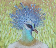 Pigeon  drawing color pencil on wood by MIOSART on Etsy