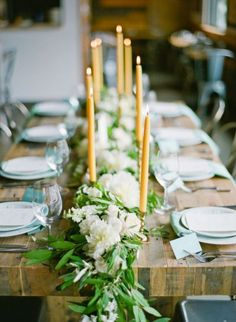 simple garland & candle tablescape