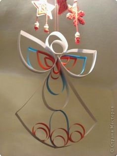 Master-class product Handicraft New Year Easter Quilling How to make angel-suspension MK Photo Paper 27 Christmas Arts And Crafts, Christmas Angels, Holiday Crafts, Christmas Crafts, Christmas Decorations, Christmas Ornaments, Quilling Craft, Paper Quilling, Origami