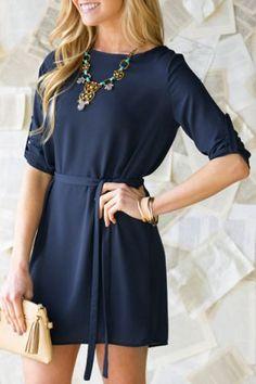 Navy Blue Tie Waist Dress