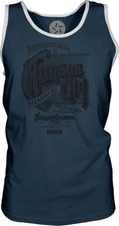 Kansas-City-Vintage-Advert-Black-Mens-Contrast-Singlet-Tank-Top-T-Shirt