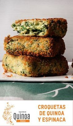 Quinoa and Spinach Croquettes Recipe . Veggie Recipes, Real Food Recipes, Vegetarian Recipes, Cooking Recipes, Yummy Food, Healthy Recipes, Veggie Food, Healthy Cooking, Healthy Snacks