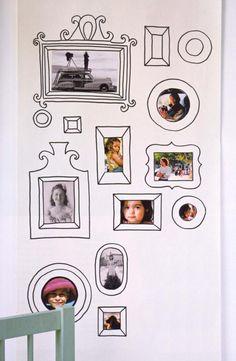 Cartoon drawn frames around photos on the wall