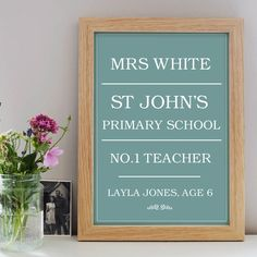 personalised with the name of the teacher, school and childs name and age. This print is available in twelve unique colours and features a classic bold print an Personalised Prints, Poster Prints, Posters, Bold Prints, Unique Colors, Primary School, Teacher, Colours, Elementary Schools