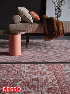 Desso & Ex unique home flooring concept in combined diamond and patchwork pattern – colour Bohemian Red. Unique Flooring, Patchwork Patterns, Home Collections, Interior Inspiration, Animal Print Rug, Ottoman, Couch, Living Room, Interior Design