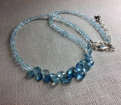Aquamarine Necklace with Briolettes in Sterling by DecemberMae