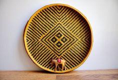 Large Vintage Woven Basket Tray / Wall Hanging / Round Bamboo Frame / Cross / Geometric /  Southwestern Diamond Pattern / Unique Wall Art
