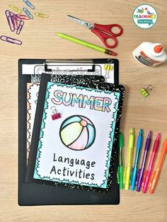 Summer Speech and Language Therapy Notebooks - These are great for the Kindergarten, 1st, 2nd, or 3rd grade speech language therapist or SLP. Manage the goals and abilities of mixed language groups while keeping records. Great evidence for parents AND administrators. Common Core aligned, but work for covering a variety of standards. Topics include sentence formulation, following directions, picture description, asking & answering questions, grammar, vocabulary, conceptual language, and more! Teaching Vocabulary, Teaching Grammar, Teaching Kindergarten, Teaching Ideas, Speech Therapy Activities, Language Activities, Activities For Kids, Speech Language Pathology, Speech And Language