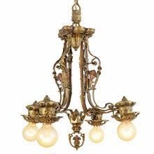 Cast Brass Revival-Style Chandelier w/ Floral Motif, C1925   Restored Lighting, Antiques & Vintage Finds from Rejuvenation