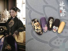 Yanxi Palace inspired nails: This salon created 11 looks that we love! New Years Nail Designs, New Years Nail Art, Nail Art Designs, Nails Design, Nails Now, New Year's Nails, Pretty Nail Art, Cool Nail Art, Anime Nails