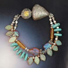 yellow keyhole clasp bracelet by Vickie Hallmark, via Flickr