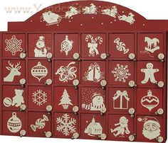 Red & White Wooden Advent Calendar Countdown Box - New for 2015