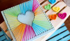 Best DIY Rainbow Crafts Ideas - Heart String Art - Fun DIY Projects With Rainbow.Best DIY Rainbow Crafts Ideas - Heart String Art - Fun DIY Projects With Rainbows Make Cool Room and Wall Decor, Party and Gift Ide# Art Kids Crafts, Bee Crafts, Crafts To Make, Art Ideas For Teens, Arts And Crafts For Teens, Kids Diy, Craft Ideas For Teen Girls, Summer Crafts, Holiday Crafts