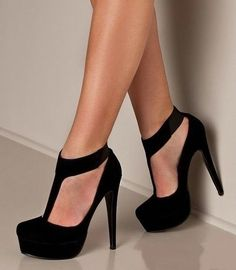 Stylish black high heels stiletto shoes