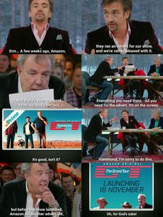 THE GRAND TOUR Jeremy Clarkson, Seinfeld, South Park, Top Gear Funny, Top Gear Bbc, Clarkson Hammond May, Emission Tv, Funny Memes, Hilarious
