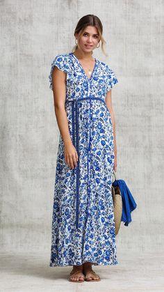 dfebd2a9c0 Poupette St Barth · Products · LONG DRESS OLA PANELLED - BLUE ZINNIA