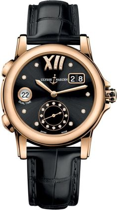 Ulysse Nardin Classic Lady Dual Time GMT Black Dial Black Leather Strap Women's Watch jewelry watches for women Best Watches For Men, Luxury Watches For Men, Gold Diamond Watches, Stylish Watches, Audemars Piguet, Beautiful Watches, Gold Leather, Vintage Watches, At Least