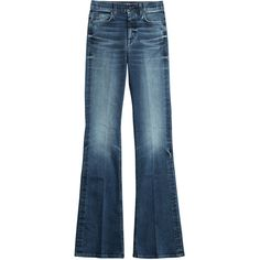 Seven for all Mankind High-Waisted Flared Jeans ($200) ❤ liked on Polyvore featuring jeans, blue, denim jeans, pleated jeans, high rise flared jeans, slim fit jeans and blue jeans