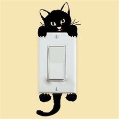 DIY Funny Cute Cat Wall Stickers Light Switch Decor Decals Art Mural Baby Nursery Room Home Decoration Bedroom Parlor Decoration Wall Stickers Home Decor, Vinyl Wall Stickers, Wall Decals, Floor Stickers, Window Stickers, Vinyl Art, Cheap Stickers, Pvc Vinyl, Wall Art