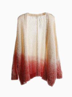 Dip Dye Fluffy Kimono Cardigan - Choies.com