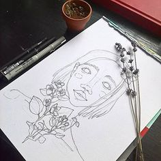 #sketch #liner #girl #practice #art #grow #flowers #reborn #lavender #jasmine #innerpeace #therapy Inner Peace, Jasmine, Lavender, Therapy, Sketch, Drawings, Flowers, Inspiration, Instagram