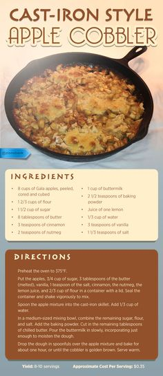 A dessert recipe proving once again that cast-iron skillets make better-than-restaurant quality food at home. A dessert recipe proving once again that cast-iron skillets make better-than-restaurant quality food at home. Cast Iron Skillet Cooking, Iron Skillet Recipes, Cast Iron Recipes, Dutch Oven Cooking, Dutch Oven Recipes, Cooking Recipes, Healthy Recipes, Apple Cobbler, Apple Pie