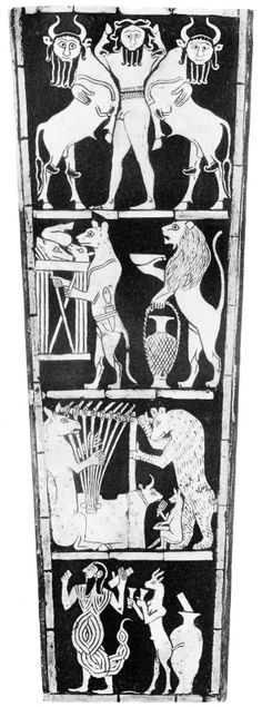 Фронтальное украшение Большой арфы, найденной при раскопках в гробнице Пуаби, с изображениями алимов-шэду и человека-скорпиона