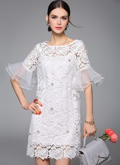 new elegant women summer short white lace dress half sleeve O neck ladies women summer dresses Simple Dresses, Beautiful Dresses, Short Dresses, Dress Skirt, Lace Dress, Dress Brokat, Evening Dresses, Summer Dresses, White Mini Dress