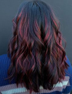 Red Hair Streaks, Black Hair With Red Highlights, Red Blonde Hair, Red Ombre Hair, Hair Color For Black Hair, Hair Highlights, Purple Hair, Pinkish Brown Hair, Red Brown Hair
