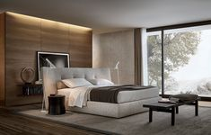 Rever bed covered in removable fabric Home Hotel Collection bench in black elm with cushion in removable, Ubik walk-in closet with wall mounted panels in latte mat lacquered Skin melamine, shoe shelves in cenere oak melamine.