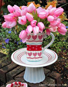 Garden Totem Valentine's Centerpiece / by GardenWhimsiesByMary, $35.00