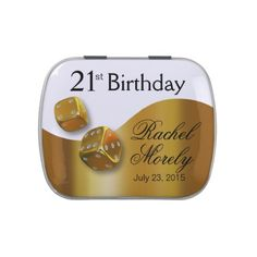 Las Vegas Dice Swoop 21st Birthday gold white Jelly Belly Tins