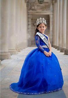 4dbdf7c49 Un Hombro Beads Niñas Vestidos Del Desfile del Azul Real de Largo Flor de  Bola de