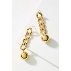 Anthropologie Golden Link Drop Earrings ($48) ❤ liked on Polyvore featuring jewelry, earrings, gold, anthropologie, anthropologie earrings, golden earring, drop earrings and golden jewellery
