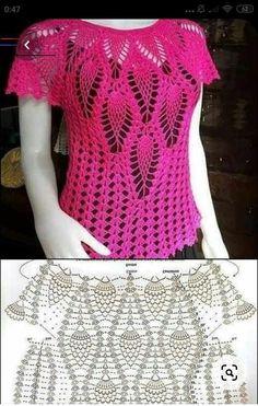 Crochet Tunic Pattern, Gilet Crochet, Crochet Square Patterns, Crochet Designs, Crochet Beach Dress, Crochet Summer Tops, Crochet Girls, Crochet Baby Clothes, Crochet T Shirts